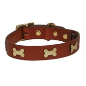 Creature Clothes - Bones Studs Leather Collar - Tan
