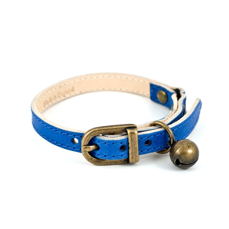 Blue Leather Cat Collar 3