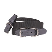 "Teddy Maximus - ""The Marylebone"" Grey Webbing & Leather Collar"