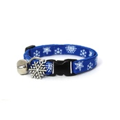 Mog's Togs - Snowflakes Cat Collar - Blue