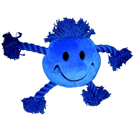 Happy Face Plush Dog Toy – Blue