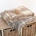 Beige Giant Check Wool Blanket  2