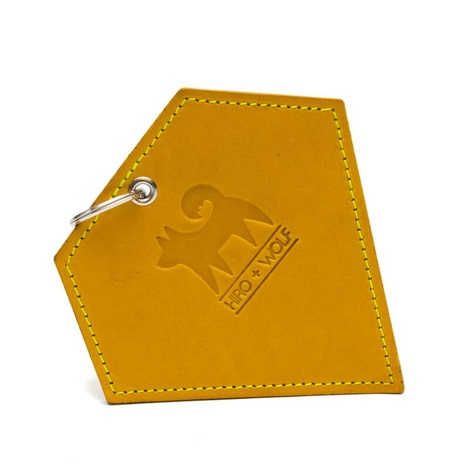 Leather Diamond Poo Pouch – Acacia Yellow