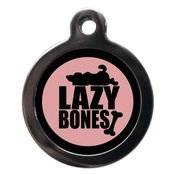 PS Pet Tags - Pink Lazy Bones Pet ID Tag