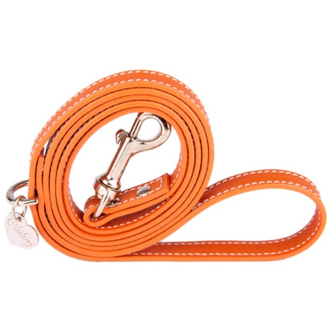 Orange and Silver Luxury Leather Lead
