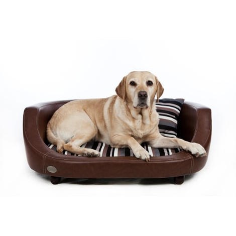 Oxford 2 Leather Pet Bed - Chestnut Beige