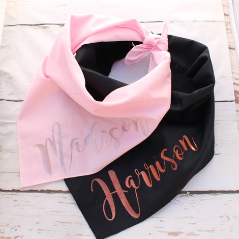 Personalised Rose Gold Pink Dog Bandana 2