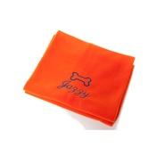 PetsPyjamas - Personalised Orange Bone Dog Blanket - Italic font