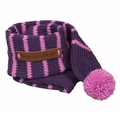 Knitted Dog Scarf – Grape & Pink 2