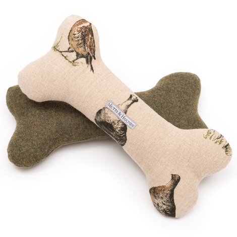 Grouse Linen Squeaky Bone Toy  2