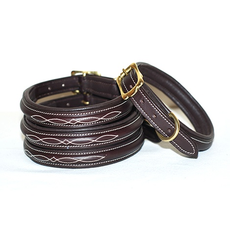 Embroidered Premium Leather Dog Collar in Brown