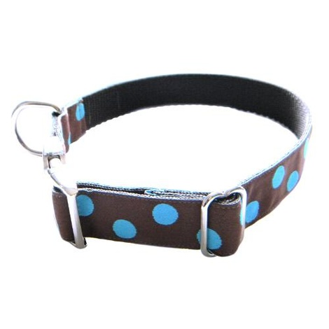 Blue Dots on Chocolate Brown Dog Collar 2