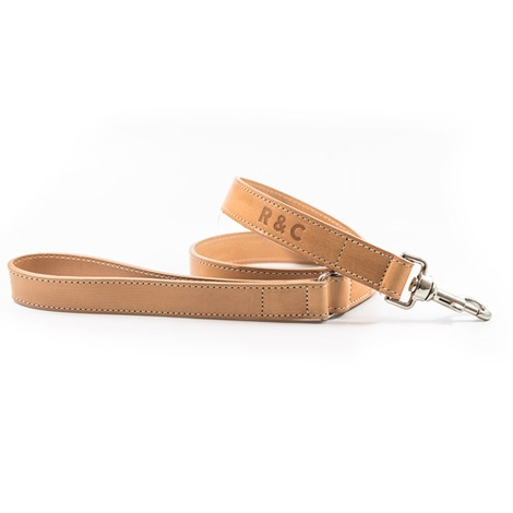 Leather dog lead - Thin (Trieste) - Light tan