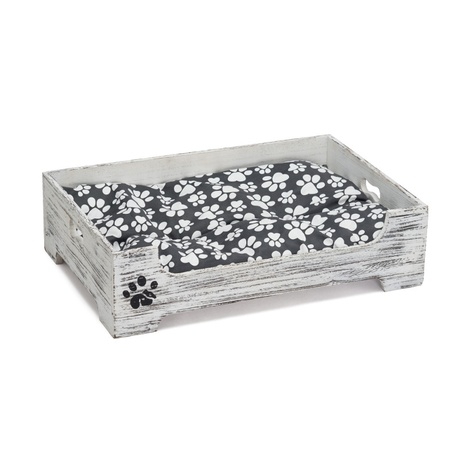 Wooden Shabby Chic Pet Bed with Patterned Cushion