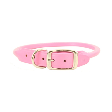 Rolled Leather Dog Collar – Pink