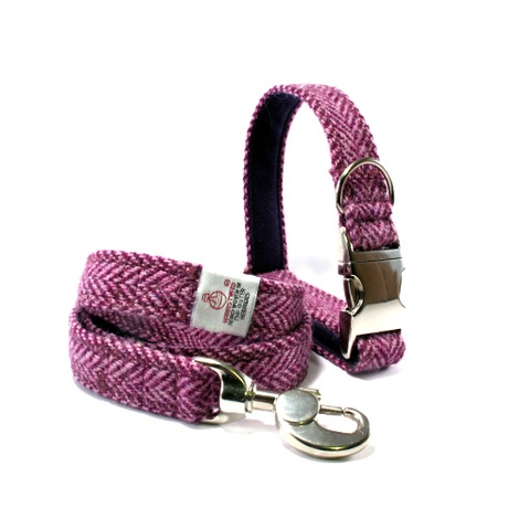 Lilac Herringbone Collar & Lead Set
