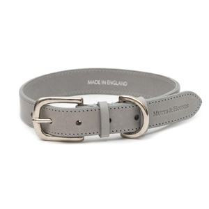 Grey Leather Dog Collar - Pastel Grey