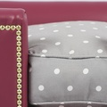 The Tetford Square Magenta Leather Dog Bed 2