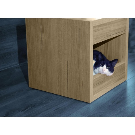 Bloq Pet Bed & Side Table - San Remo Oak 3