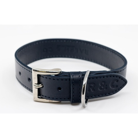 Leather dog collar (Rimini) - Midnight Blue 2