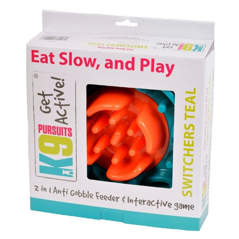 2 in 1 Anti Gobble Feeder and Interactive Game - Teal 3