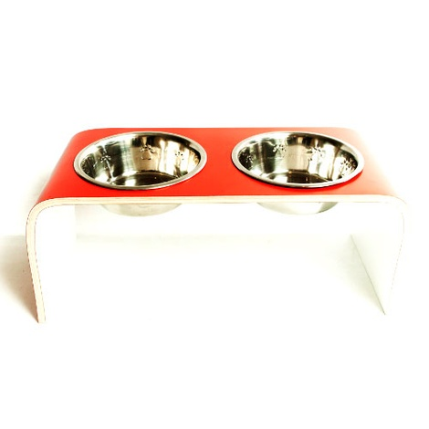 Red & White Raised Dog Bowl Holder