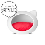 GuisaPet - White Cat Cave with Red Cushion