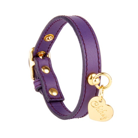 Amethyst and Gold Leather Collar