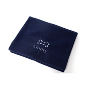 PetsPyjamas - Personalised Navy Bone Dog Blanket - Classic font