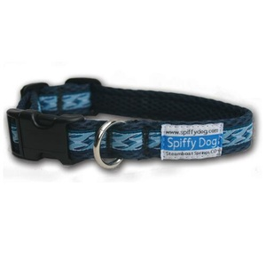 Navy Wave Pattern Dog Collar