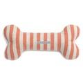 Orange Striped Squeaky Bone Dog Toy