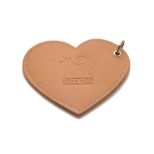 Leather Heart Poo Bag Pouch - Tan