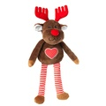 Plush Reindeer Dog Toy with Removable Antlers