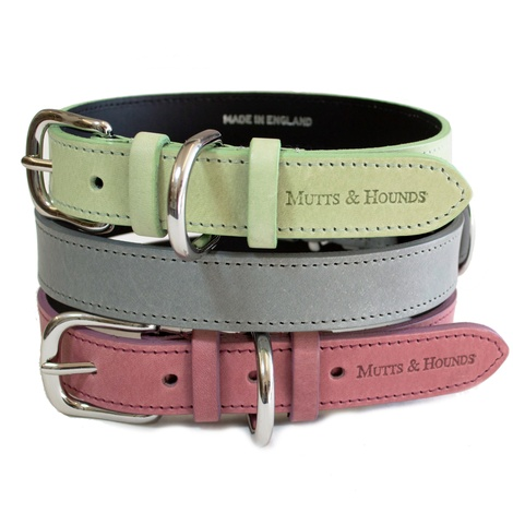 Heather Leather Dog Collar - Pastel Pink 3