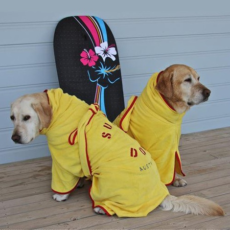 Microfibre Dog Dressing Gown - Yellow 3