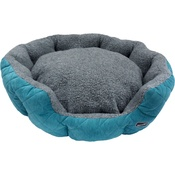 Hem & Boo - Quilted Oval Fleece Dog Bed - Turquoise