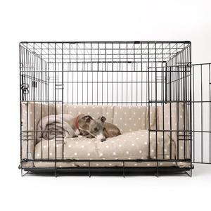 Dog Crate Mattress & Bed Bumper Set - Dotty Taupe