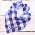 Personalised Southern Blue Plaid Dog Bandana