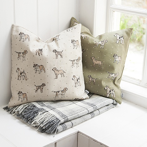 Dogs Linen Cushion - Natural 2