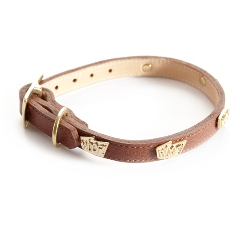 Woof Leather Dog Collar - Brown