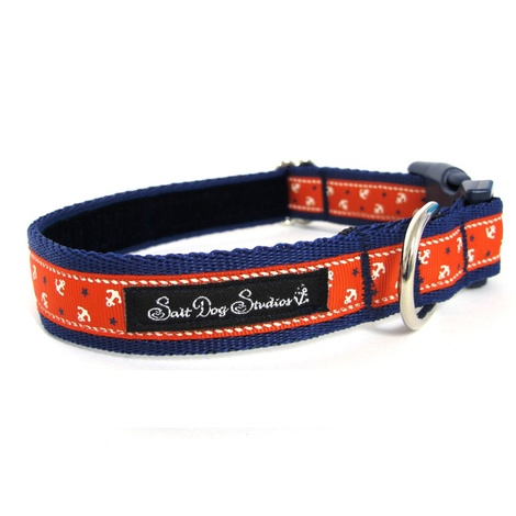 Little Sailors Red on Navy Dog Collar