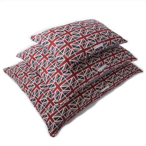 Union Jack Linen Pillow Dog Bed
