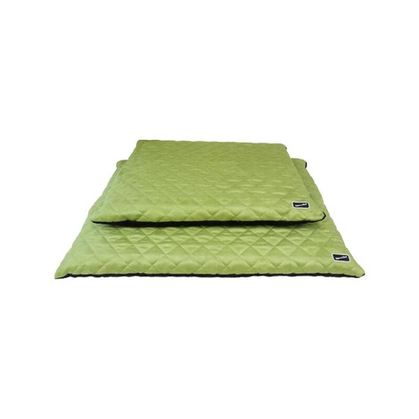 Quilted Flat Dog Bed - Black & Green