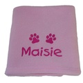 Personalised Fleece Puppy Blanket - Pale Pink