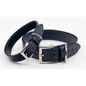 Leather dog collar (Rimini) - Midnight Blue