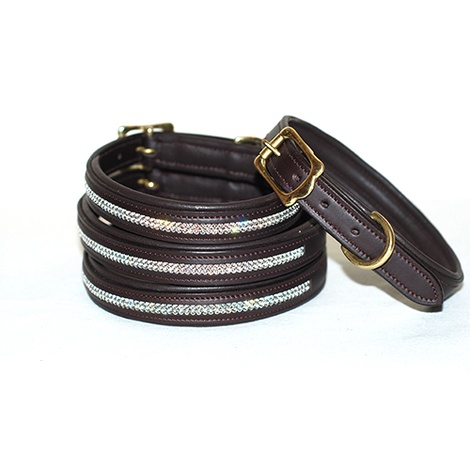 Diamonds Leather Dog Collar - Chocolate Brown