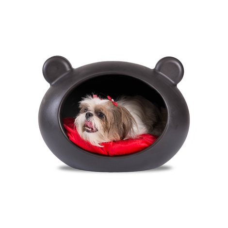 Small Black Dog Cave with Red Cushion