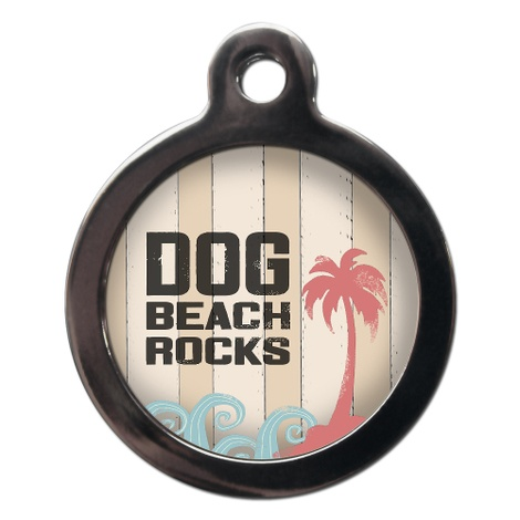 Dog Beach Rocks Pet ID Tag