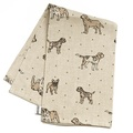 Dogs Linen Tea Towel - Natural