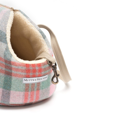 Macaroon Check Tweed Dog Carrier 5